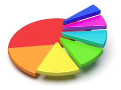 Stock Illustration of colorful pie chart in form of ascending stairs