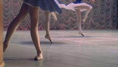 Ballerina in blue at the theater - stock footage