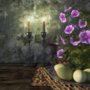 Jewish celebrate pesach passover with eggs, matzo and flowers holiday background Stock Photos