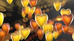 Orange Valentine Love Hearts Dark Background Stock Footage