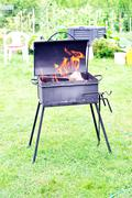 brazier with  fire - stock photo