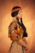 native american woman toned image - stock photo