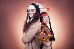native american couple vintage image on brown - stock photo