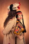 native american couple vintage image - stock photo