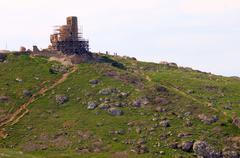old ruins of genoese fortification in balaklava - stock photo