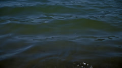 Small breaking waves at shoreline of Lake, tilt down 4K Stock Footage