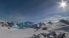 Swiss ski lift station lens flare  4K ultra HD Stock Footage