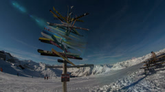 Ischgl mountain top sign made from old skies and ski lift station 4K ultra HD Stock Footage