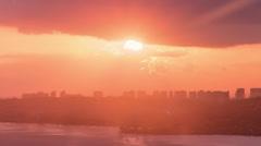 Sun Disk Sets into Honolulu, Hawaii, Diamond Head, Time Lapse Fast Stock Footage