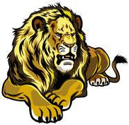 Lying lion Stock Illustration