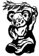 Koala bear black white Stock Illustration