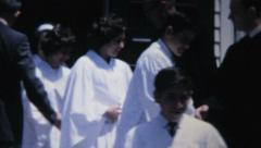 Teenagers Leave Church After Confirmation-1967 Vintage 8mm film - stock footage