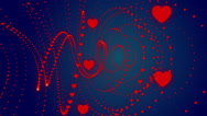 Stock Video Footage of wedding loop blue background,  turbulence red hearts