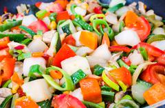 sliced vegetables in the pan - stock photo