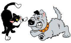 angry cartoon cat and dog - stock illustration