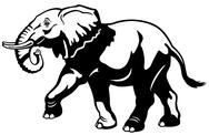 Stock Illustration of elephant black white