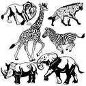Stock Illustration of set with african animals