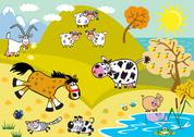 Stock Illustration of landscape with childish farm animals autumn season