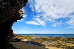 in lanzarote   spain  rock stone sky cloud beach - stock photo