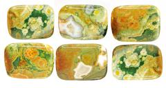 Green and yellow jasper crystal Stock Photos