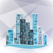 Stock Illustration of vector building over abstract background