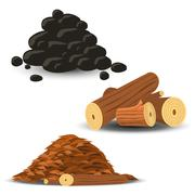 firewood, wood chips and coal - stock illustration