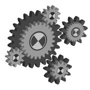 Stock Illustration of set working cogs, gears on white background