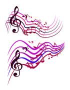 Stock Illustration of abstract colorful music notes. vector illustration