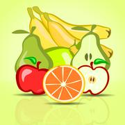various fruits on a green background - stock illustration