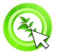 Stock Illustration of vector leaf icon green button