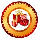 Stock Illustration of gold christmas gifts button. vector