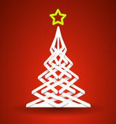 Stock Illustration of christmas tree with star made paper strips