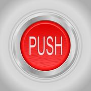 Stock Illustration of red round push button bordered by a metallic ring