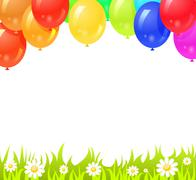 Stock Illustration of background with colorful balloons