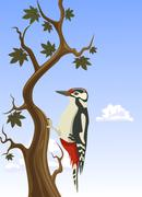 vector woodpecker clinging to a tree trunk - stock illustration