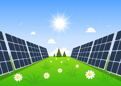 Stock Illustration of solar panel produces green energy from the sun.