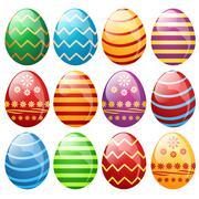 Stock Illustration of set of easter eggs