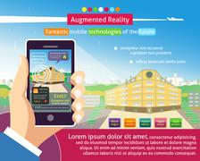 augmented reality poster - stock illustration