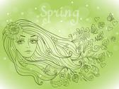 Stock Illustration of spring girl portrait with blooming flowers