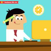 manager working diligently on the computer - stock illustration