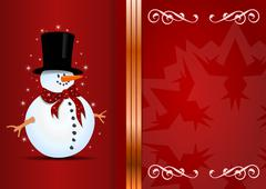 Stock Illustration of christmas background with snowman and place for your text.