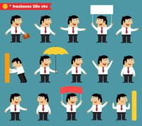 Adult at work emotional poses and situations set Stock Illustration