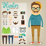 hipster character pack for geek boy - stock illustration
