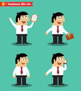 Stock Illustration of businessman in poses standing set
