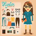 Stock Illustration of hipster character pack for geek girl