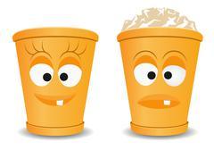 Stock Illustration of orange fun recycle bins