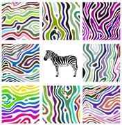 Stock Illustration of colorful abstract illustration set of zebra pattern