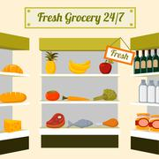 Tuore ruokakauppa elintarvikkeita hyllyille Piirros