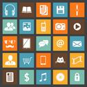 Stock Illustration of flat media devices and services icons set