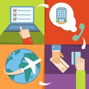 Business reservation and booking icons set Stock Illustration